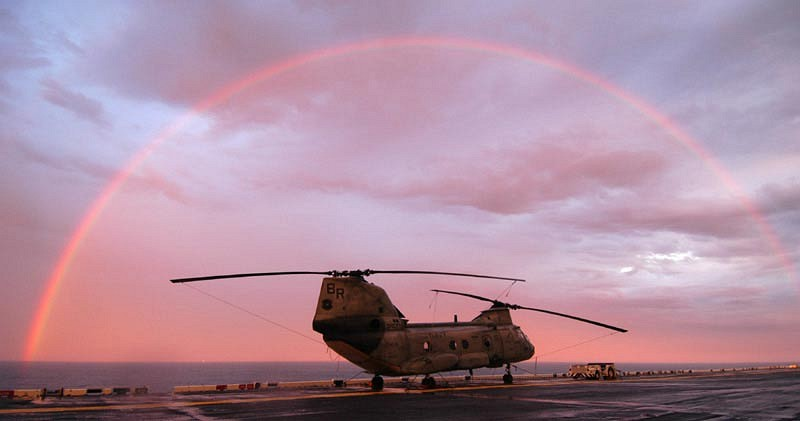 29. Sunset and a Rainbow, June 1, 2004, Atlantic Ocean. Photo Credit: Photographer's Mate Second Class (PH2) Robert J. Stratchko, USS Iwo Jima (LHD 7) Photos (http://www.iwo-jima.navy.mil/photos.htm and http://www.iwo-jima.navy.mil/photos2.htm, 040601-N-8933S-001), United States Navy (USN, http://www.navy.mil), United States Department of Defense (DoD, http://www.DefenseLink.mil or http://www.dod.gov), Government of the United States of America (USA).