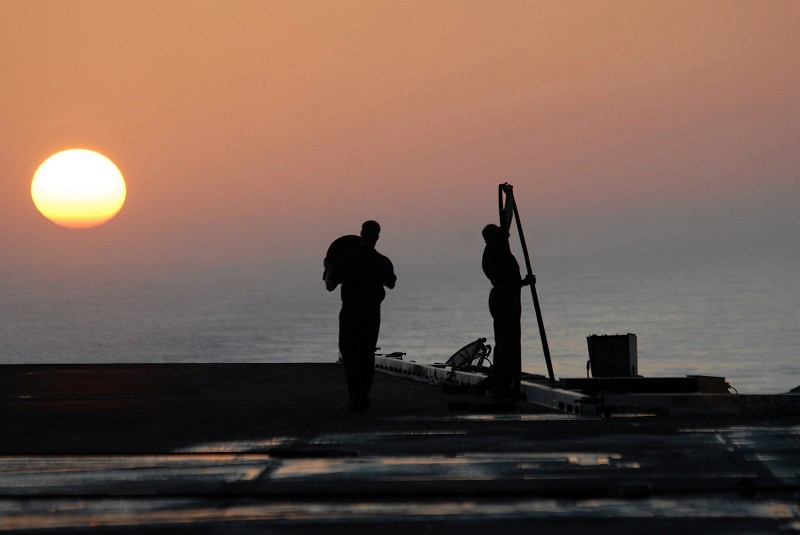 42. The Setting of the Sun, April 2, 2007, South China Sea. Photo Credit: Mass Communication Specialist 2nd Class Joseph M. Buliavac, Navy NewsStand - Eye on the Fleet Photo Gallery (http://www.news.navy.mil/view_photos.asp, 070402-N-3659B-214), United States Navy (USN, http://www.navy.mil), United States Department of Defense (DoD, http://www.DefenseLink.mil or http://www.dod.gov), Government of the United States of America (USA).