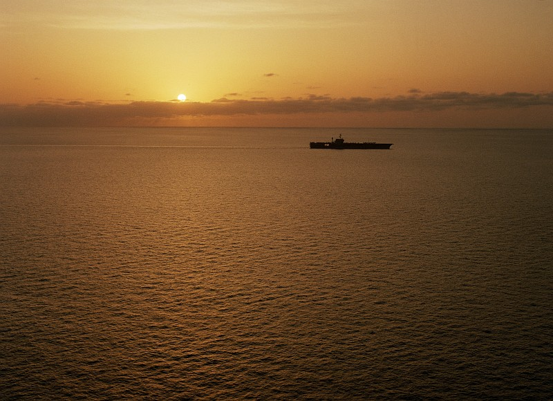 46. Beautiful Golden Sunset at Sea, March 20, 1987, Indian Ocean. Photo Credit: PH3 C. Whorton, United States Navy (USN, http://www.navy.mil); Defense Visual Information Center (DVIC, http://www.DoDMedia.osd.mil, DNSC8710940) and United States Navy (USN, http://www.navy.mil), United States Department of Defense (DoD, http://www.DefenseLink.mil or http://www.dod.gov), Government of the United States of America (USA).