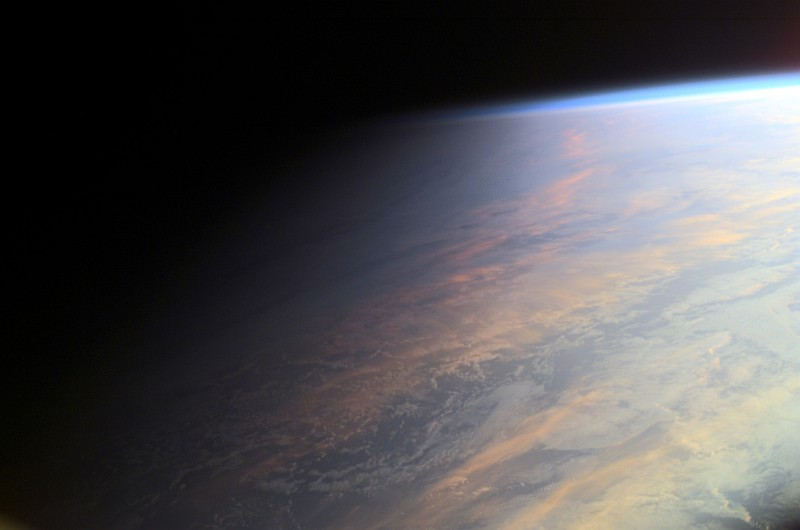 75. Pitch Black Night, Earth's Terminator, and Full Daylight at 22:33:05 GMT on June 17, 2001, As Seen From the International Space Station (Expedition 2). Photo Credit: ISS002-E-7377, Ocean, Sunglint clouds, Earth's terminator, Day side, Night side, Earth's limb, International Space Station (Expedition Two); Image Science and Analysis Laboratory, NASA-Johnson Space Center. 'Astronaut Photography of Earth - Display Record.' <http://eol.jsc.nasa.gov/scripts/sseop/photo.pl?mission=ISS002&roll=E&frame=7377>; National Aeronautics and Space Administration (NASA, http://www.nasa.gov), Government of the United States of America (USA).