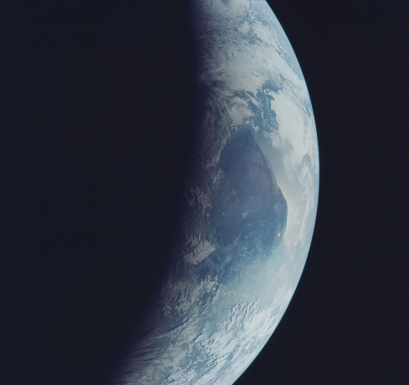 85. Total Darkness, Earth's Terminator, and Full Daylight, July 1969, As Seen From the NASA's Apollo 11 Spacecraft. Photo Credit: NASA; AS11-44-6692, Earth's terminator, Day side, Night side, Earth's limb, Ethiopia, Indian Ocean, Apollo 11 Mission; Image Science and Analysis Laboratory, NASA-Johnson Space Center. 'Astronaut Photography of Earth - Display Record.' <http://eol.jsc.nasa.gov/scripts/sseop/photo.pl?mission=AS11&roll=44&frame=6692>; National Aeronautics and Space Administration (NASA, http://www.nasa.gov), Government of the United States of America (USA).
