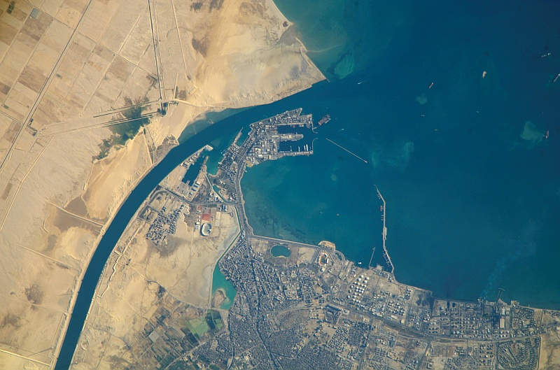 88. Port of Suez and Gulf of Suez, Jumhuriyat Misr al-Arabiyah - Arab Republic of Egypt, December 20, 2007 at 12:53:29.484 GMT, As Seen From the International Space Station (Expedition 16). Photo Credit: NASA; ISS016-E-19375, Port of Suez, Gulf of Suez, Egypt, Africa, International Space Station (Expedition Sixteen); Image Science and Analysis Laboratory, NASA-Johnson Space Center. 'Astronaut Photography of Earth - Display Record.' <http://eol.jsc.nasa.gov/scripts/sseop/photo.pl?mission=ISS016&roll=E&frame=19375>; National Aeronautics and Space Administration (NASA, http://www.nasa.gov), Government of the United States of America (USA).
