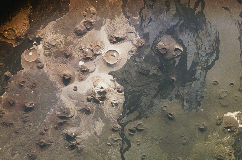 90. Late Afternoon at Harrat Khaybar, Al Mamlakah al Arabiyah as Suudiyah � Kingdom of Saudi Arabia, March 31, 2008 at 13:55:18.123 GMT, As Seen From the International Space Station (Expedition 16). Photo Credit: NASA; ISS016-E-34524, Volcanic field, Lava field, Harrat Khaybar (including Jabal al Qidr, Jabal Abyad, and Jabal Bayda'), Saudi Arabia, International Space Station (Expedition 16); Image Science and Analysis Laboratory, NASA-Johnson Space Center. 'Astronaut Photography of Earth - Display Record.' <http://eol.jsc.nasa.gov/scripts/sseop/photo.pl?mission=ISS016&roll=E&frame=34524>; National Aeronautics and Space Administration (NASA, http://www.nasa.gov), Government of the United States of America (USA).