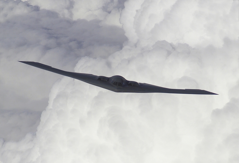 34. A U.S. Air Force B-2 Spirit Stealth Bomber Prepares For Refueling, October 5, 2000, McGuire Air Force Base, State of New Jersey, USA. Photo Credit: Scott H. Spitzer, United States Air Force; Defense Visual Information (DVI, http://www.DefenseImagery.mil, 001005-F-1166S-010 and 001005-F-KF493-010) and United States Air Force (USAF, http://www.af.mil), United States Department of Defense (DoD, http://www.DefenseLink.mil or http://www.dod.gov), Government of the United States of America (USA).