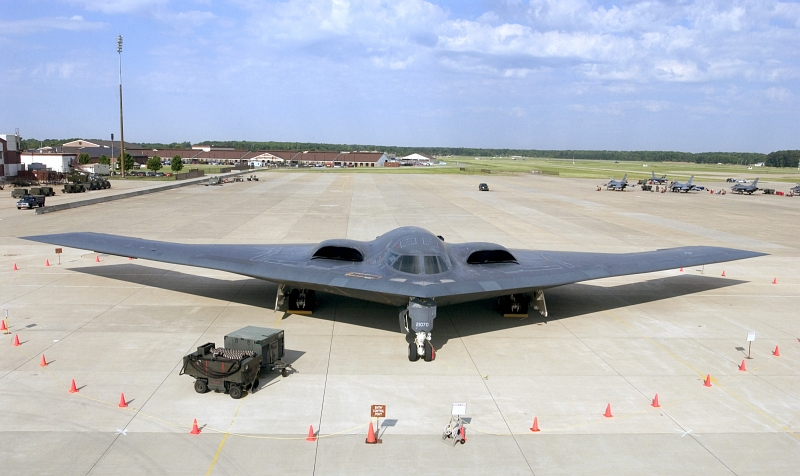 40. A U.S. Air Force B-2 Spirit Stealth Bomber Sits On the Flight Line, June 16, 2005, Langley Air Force Base, Commonwealth of Virginia, USA. Photo Credit: Staff Sgt. Eric T. Sheler, United States Air Force; Defense Visual Information (DVI, http://www.DefenseImagery.mil, 050616-F-LE508-001, 050616-F-6244S-001, DFSD0815075, and DF-SD-08-15075) and United States Air Force (USAF, http://www.af.mil), United States Department of Defense (DoD, http://www.DefenseLink.mil or http://www.dod.gov), Government of the United States of America (USA).
