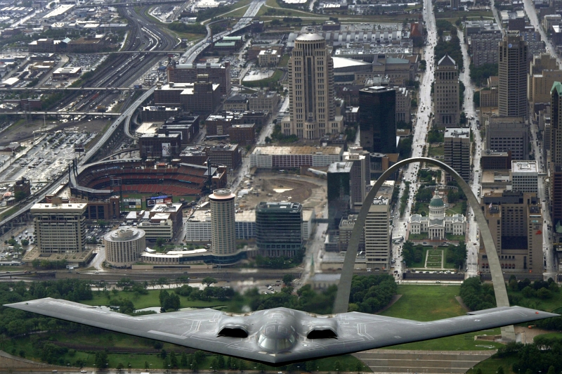 57. U.S. Air Force B-2 Spirit Stealth Bomber Flying Over the City of St. Louis, August 10, 2006, State of Missouri, USA. Photo Credit: Airman 1st Class (A1C) Jonathan Lovelady, United States Air Force; Defense Visual Information (DVI, http://www.DefenseImagery.mil, 060810-F-YA200-202, DF-SD-08-23198, and DFSD0823198) and United States Air Force (USAF, http://www.af.mil), United States Department of Defense (DoD, http://www.DefenseLink.mil or http://www.dod.gov), Government of the United States of America (USA).