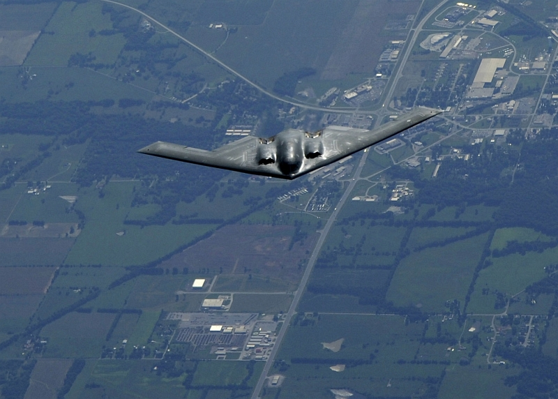 48. U.S. Air Force B-2 Spirit Stealth Bomber During A Refueling Operation, July 15, 2008, State of Kansas, USA. Photo Credit: Airman 1st Class Wesley Farnsworth, United States Air Force; Defense Visual Information (DVI, http://www.DefenseImagery.mil, 080715-F-AV193-029) and United States Air Force (USAF, http://www.af.mil), United States Department of Defense (DoD, http://www.DefenseLink.mil or http://www.dod.gov), Government of the United States of America (USA).