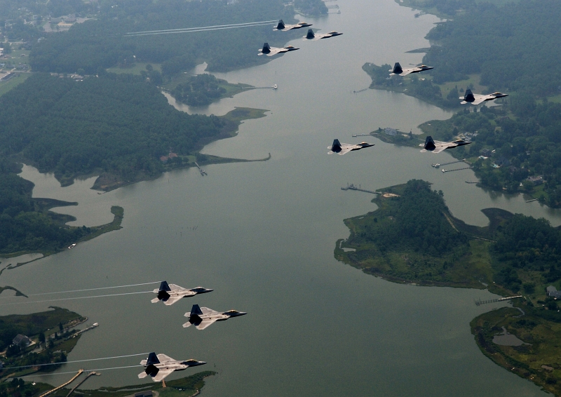 13. U.S. Air Force F-22A Raptor Stealth Fighter Jets (Assigned to the 94th Fighter Squadron Out of Langley Air Force Base) Fly In 10-Ship Aircraft Formation In  Celebration of the Squadron's 90th Birthday, August 17, 2007, Langley Air Force Base, Commonwealth of Virginia, USA. Photo Credit: Staff Sgt. Samuel Rogers, United States Air Force; Defense Visual Information (DVI, http://www.DefenseImagery.mil, 080817-F-0986R-003) and United States Air Force (USAF, http://www.af.mil), United States Department of Defense (DoD, http://www.DefenseLink.mil or http://www.dod.gov), Government of the United States of America (USA).