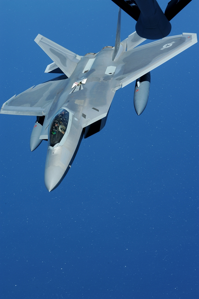 20. Over the Pacific Ocean: The U.S Air Force F-22A Raptor Stealth Fighter Jet Continues Its Journey to Joint Base Pearl Harbor-Hickam, Hawaii, USA, After Refueling From A Hawaii Air National Guard KC-135 Stratotanker Refueler, July 2, 2010. Photo Cedit: Senior Airman Gustavo Gonzalez, United States Air Force; Air Force Link - Photos (http://www.af.mil/photos, 100702-F-4815G-108), United States Air Force (USAF, http://www.af.mil), United States Department of Defense (DoD, http://www.DefenseLink.mil or http://www.dod.gov), Government of the United States of America (USA).