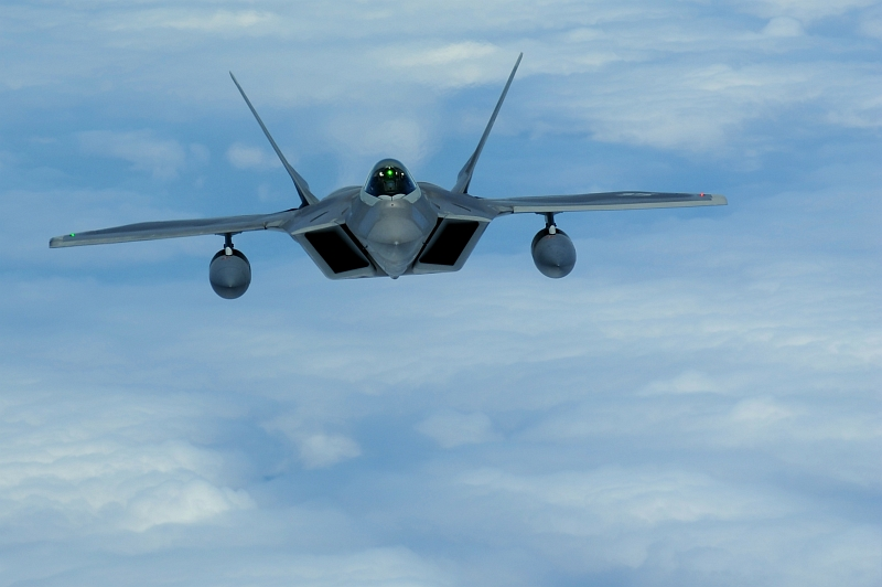 19. U.S Air Force F-22A Raptor Stealth Fighter Jet Flying to Joint Base Pearl Harbor-Hickam, State of Hawaii, USA, July 2, 2010. Photo Cedit: Senior Airman Gustavo Gonzalez, United States Air Force; Air Force Link - Photos (http://www.af.mil/photos, 100702-F-4815G-112), United States Air Force (USAF, http://www.af.mil), United States Department of Defense (DoD, http://www.DefenseLink.mil or http://www.dod.gov), Government of the United States of America (USA).
