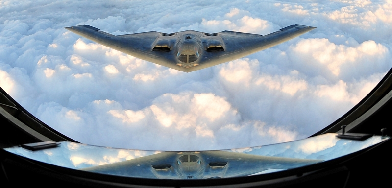 41. U.S. Air Force B-2 Spirit Stealth Bomber Approaches the Refueling Tanker, September 9, 2011, State of Kansas, USA. Photo Credit: Senior Airman Courtney Witt, United States Air Force; Defense Visual Information (DVI, http://www.DefenseImagery.mil, 110909-F-QH266-280) and United States Air Force (USAF, http://www.af.mil), United States Department of Defense (DoD, http://www.DefenseLink.mil or http://www.dod.gov), Government of the United States of America (USA).
