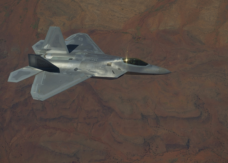 36. A U.S. Air Force F-22A Raptor Stealth Fighter Flies Over the Tularosa Basin, September 28, 2011, State of New Mexico, USA. Photo Credit: Senior Airman John D. Strong II, Air Force Link  Photos (http://www.af.mil/photos, 110928-F-CJ792-083, 'F-22 Raptor'), United States Air Force (USAF, http://www.af.mil), United States Department of Defense (DoD, http://www.DefenseLink.mil or http://www.dod.gov), Government of the United States of America (USA).