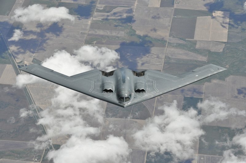 54. The U.S. Air Force B-2 Spirit Stealth Bomber (From Whiteman Air Force Base, Missouri) Descends and Departs After A Successful Mid-Air Refueling Mission From A KC-135R Stratotanker (Assigned to the 128th Air Refueling Wing In Milwaukee, Wisconsin), May 9, 2012, State of Colorado, USA. Photo Credit: Staff Sgt. Jeremy M. Wilson, United States Air Force; 120509-F-VV395-106; United States Air Force (USAF, http://www.af.mil), United States Department of Defense (DoD, http://www.DefenseLink.mil or http://www.dod.gov), Government of the United States of America (USA).