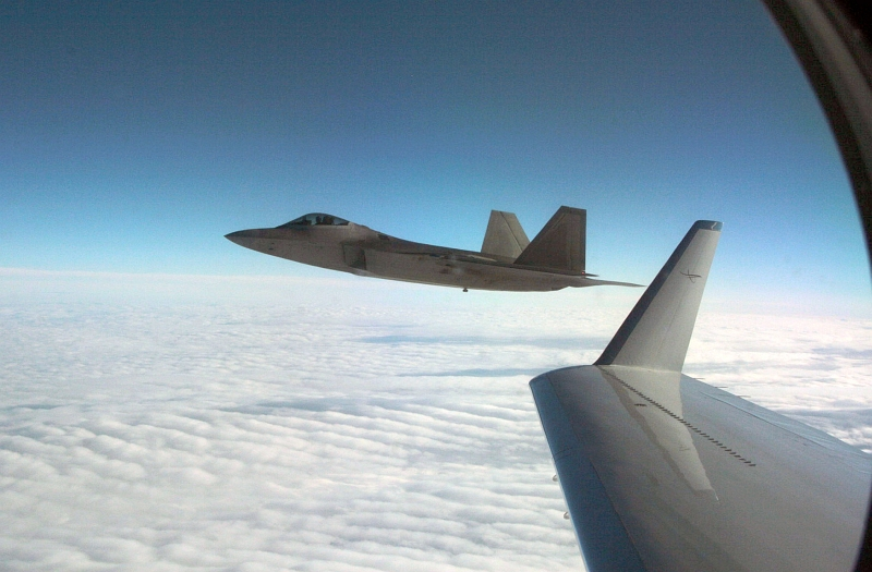 "25. Joint NORAD-Russian Federation Exercise VIGILANT EAGLE: High Above Alaska, a U.S. Air Force F-22A Raptor Stealth Fighter Jet Intercepts and Escorts a Gulfstream IV (Gulfstream 4) Jet (Code-named ""Fencing 1220"") During the International Hijacking Scenario, August 2010, State of Alaska, USA. Photo Credit: Major Michael S. Humphreys, United States Army; North American Aerospace Defense Command (NORAD, http://www.norad.mil, 100810-A-6937H-362), United States Department of Defense (DoD, http://www.DefenseLink.mil or http://www.dod.gov), Government of the United States of America (USA)."