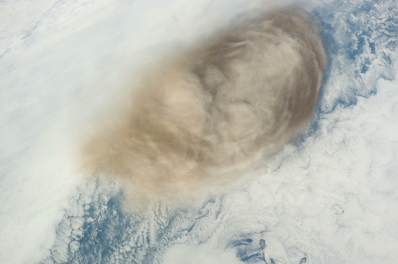 8. Ash Cloud From the Eruption of the Sarychev Peak Volcano, June 14, 2009 at 21:30:50 GMT, Matua Island, Kuril Islands, Rossiyskaya Federatsiya -- Russian Federation, As Seen From the International Space Station (Expedition 20) Photo Credit: NASA, International Space Station (Expedition Twenty); ISS020-E-10156, Sarychev Peak, Ash cloud, Matua Island, Kuril (or Kurile) Islands; Image Science and Analysis Laboratory, NASA-Johnson Space Center. 'Astronaut Photography of Earth - Display Record.' <http://eol.jsc.nasa.gov/scripts/sseop/photo.pl?mission=ISS020&roll=E&frame=10156>; National Aeronautics and Space Administration (NASA, http://www.nasa.gov), Government of the United States of America (USA).