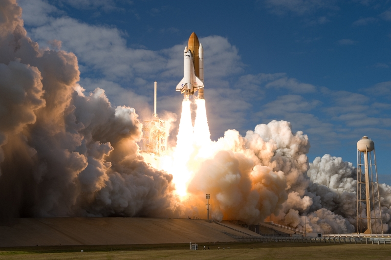 2. Early Afternoon Liftoff of Space Shuttle Atlantis (STS-129) From Launch Pad 39A, November 16, 2009, NASA John F. Kennedy Space Center, State of Florida, USA. Photo Credit: NASA/Sandra Joseph and Kevin O'Connell; STS-129 Mission, Launch of Space Shuttle Atlantis, November 16, 2009, Kennedy Media Gallery (http://mediaarchive.ksc.nasa.gov) Photo Number: KSC-2009-6380 (http://mediaarchive.ksc.nasa.gov/detail.cfm?mediaid=44304), John F. Kennedy Space Center (KSC, http://www.nasa.gov/centers/kennedy), National Aeronautics and Space Administration (NASA, http://www.nasa.gov), Government of the United States of America.