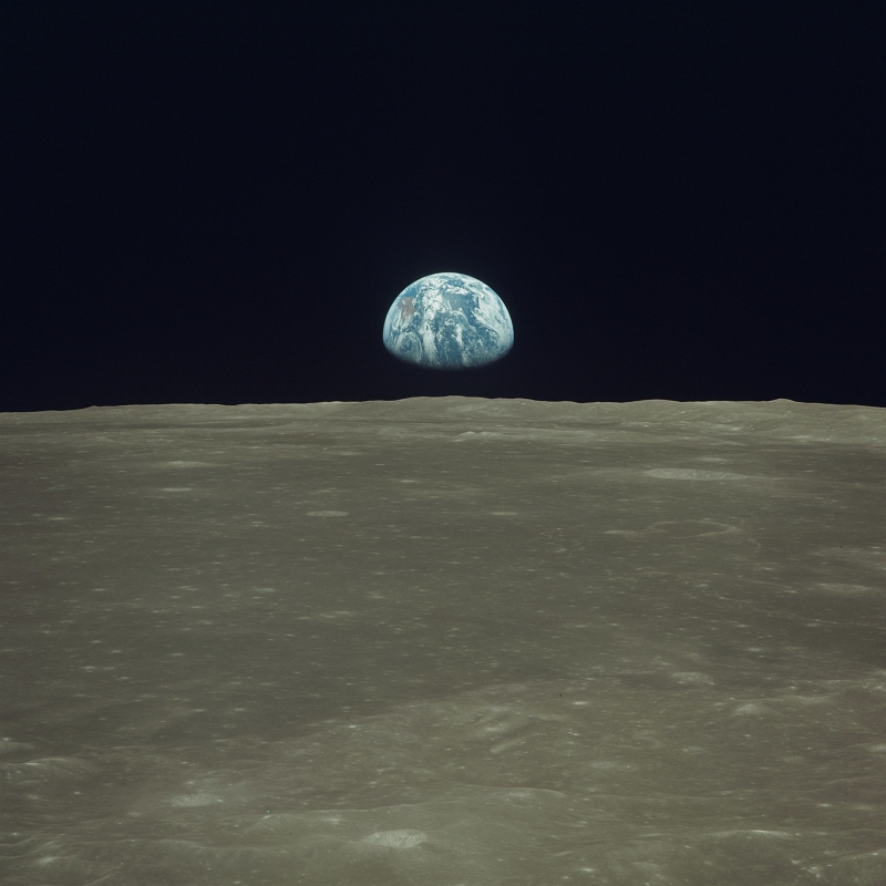 Planet Earth Above the Horizon of Earth's Moon, July 20, 1969, As Seen From the NASA Apollo 11 Spacecraft Orbiting the Moon. Photo Credit: NASA; AS11-44-6550, Earth rises over the lunar limb, Moon surface, Earthrise, Apollo 11 Spacecraft, Apollo XI Mission; Image Science and Analysis Laboratory, NASA-Johnson Space Center. 'Astronaut Photography of Earth - Display Record.' >http://eol.jsc.nasa.gov/scripts/sseop/photo.pl?mission=AS11&roll=44&frame=6550<; National Aeronautics and Space Administration (NASA, http://www.nasa.gov), Government of the United States of America (USA).