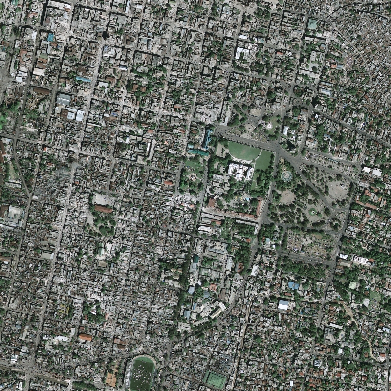 10. The View From Space of the Catastrophic and Extensive Damage to Port-au-Prince, R�publique d'Ha�ti (Repiblik d' Ayiti) - Republic of Haiti, As Seen From the GeoEye GeoEye-1 Satellite (Half-Meter or .50 Resolution) at 10:27 a.m. EST on January 13, 2010. Satellite image courtesy of GeoEye. Photo Credit: GeoEye (http://GeoEye.com); The photograph 'was taken by the GeoEye-1 satellite from 423 miles [681 kilometers] in space at 10:27 a.m. EST on Jan. 13, 2010 as it moved from north to south over the Caribbean at a speed of four miles [6.4 kilometers] per second.'