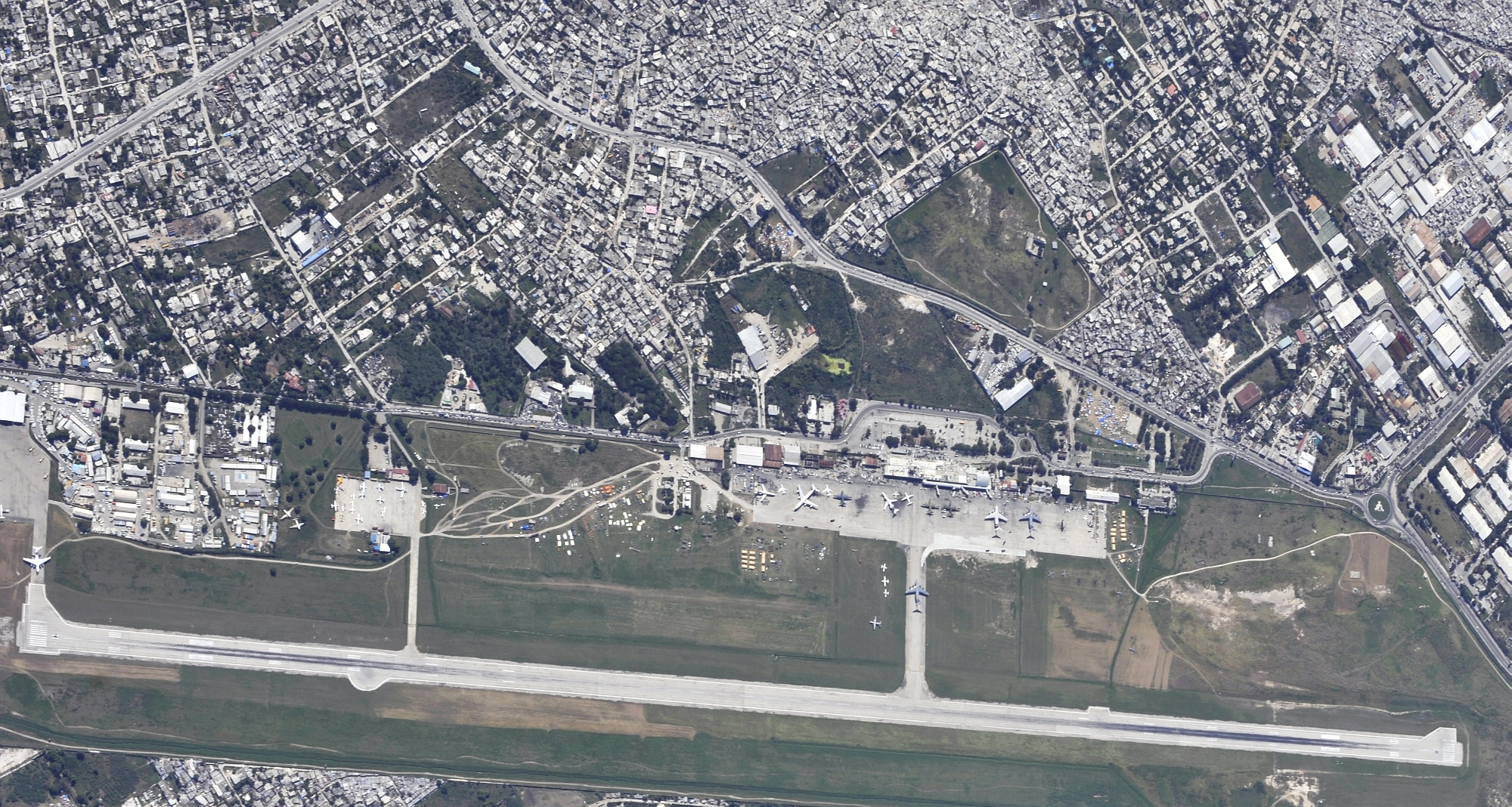 Toussaint L'Ouverture International Airport and the city of Port-au-Prince, Haiti, January 16, 2010