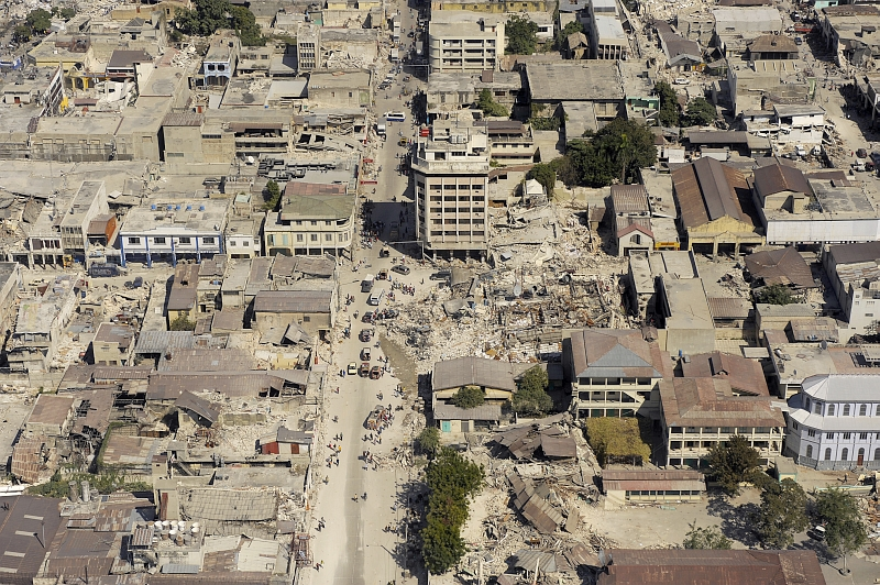41. Downtown Port-au-Prince, A City In Ruins Due To the Magnitude 7.0 Earthquake, January 22, 2010, January 22, 2010, Port-au-Prince, Republique d'Haiti (Repiblik d' Ayiti) - Republic of Haiti. Photo Credit: Master Sgt. (MSgt) Russell E. Cooley IV , United States Air Force; Defense Visual Information (DVI, http://www.DefenseImagery.mil, 100122-F-9712C-127) and United States Air Force (USAF, http://www.af.mil), United States Department of Defense (DoD, http://www.DefenseLink.mil or http://www.dod.gov), Government of the United States of America (USA).