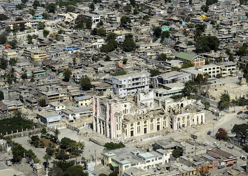 56. The Roman Catholic National Cathedral (Cathedral of Port-au-Prince) Was One of Many Buildings Severely Damaged By the 7.0-Magnitude Earthquake, January 28, 2010, Port-au-Prince, Republique d'Haiti (Repiblik d' Ayiti) - Republic of Haiti. Photo Credit: Mass Communication Specialist 2nd Class Kristopher Wilson, United States Navy; Defense Visual Information (DVI, http://www.DefenseImagery.mil, 100128-N-5345W-148) and United States Navy (USN, http://www.navy.mil), United States Department of Defense (DoD, http://www.DefenseLink.mil or http://www.dod.gov), Government of the United States of America (USA).