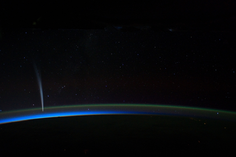 Lightning On Earth, Earth's Atmospheric Limb, Comet Lovejoy, and the Stars, December 21, 2011, As Seen From the International Space Station (Expedition 30). Photo Credit: Daniel C. Burbank, NASA Astronaut; International Space Station (http://spaceflight.nasa.gov/gallery/images/station/crew-30/ndxpage1.html), ISS030-E-014350 (http://spaceflight.nasa.gov/gallery/images/station/crew-30/html/iss030e014350.html), NASA Human Space Flight (http://spaceflight.nasa.gov), National Aeronautics and Space Administration (NASA, http://www.nasa.gov), Government of the United States of America.