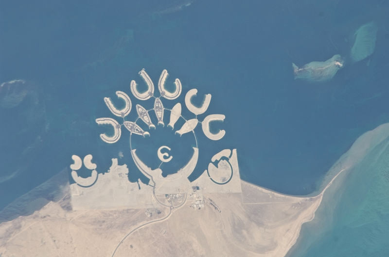 1. Durrat Al Bahrain, Mamlakat al Bahrayn - Kingdom of Bahrain, January 23, 2011 at 11:17:08 GMT, As Seen From the International Space Station (Expedition Twenty-Six), Latitude (LAT): 24.1, Longitude (LON): 50.5, Altitude (ALT): 188 Nautical Miles, Sun Azimuth (AZI): 223 degrees, Sun Elevation Angle (ELEV): 34 degrees. Photo Credit: NASA; ISS026-E-20127, International Space Station (Expedition 26); Image Science and Analysis Laboratory, NASA-Johnson Space Center. 'Astronaut Photography of Earth - Display Record.' <http://eol.jsc.nasa.gov/scripts/sseop/photo.pl?mission=ISS026&roll=E&frame=20127>; National Aeronautics and Space Administration (NASA, http://www.nasa.gov), Government of the United States of America (USA).