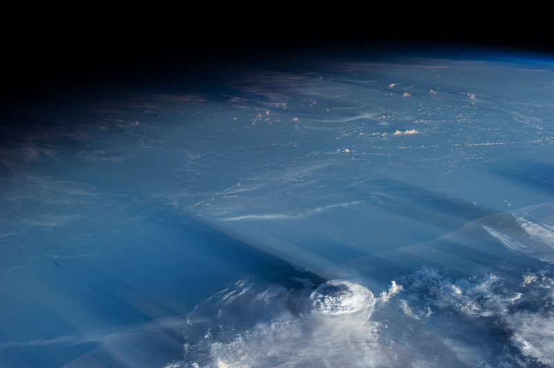"3. Clouds and Shadows: May 5, 2013 at 14:33:54 GMT, As Seen From the International Space Station (Expedition 35), Orbiting Above the Gulf of Aden at (LAT): 13.3, Longitude (LON): 46.7, Altitude (ALT): 221 Nautical Miles, Sun Azimuth (AZI): 285 degrees, Sun Elevation Angle (ELEV): 7 degrees. Photo Credit: NASA; ISS035-E-34692, Near East, Middle East, International Space Station (Expedition Thirty-Five); Image Science and Analysis Laboratory, NASA-Johnson Space Center. ""Astronaut Photography of Earth - Display Record."" <http://eol.jsc.nasa.gov/scripts/sseop/photo.pl?mission=ISS035&roll=E&frame=34692>; National Aeronautics and Space Administration (NASA, http://www.nasa.gov), Government of the United States of America (USA)."