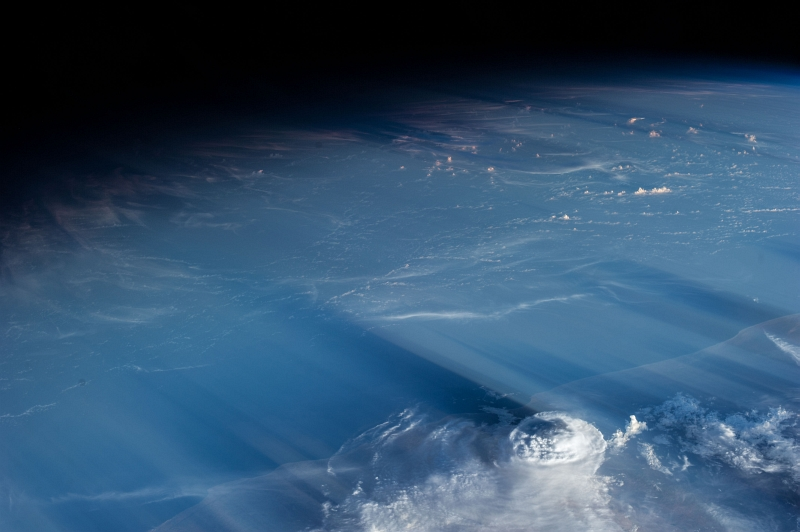 "4. Clouds and Shadows: May 5, 2013 at 14:33:56 GMT, As Seen From the International Space Station (Expedition 35), Orbiting Above the Gulf of Aden at (LAT): 13.2, Longitude (LON): 46.7, Altitude (ALT): 221 Nautical Miles, Sun Azimuth (AZI): 285 degrees, Sun Elevation Angle (ELEV): 7 degrees. Photo Credit: NASA; ISS035-E-34693, Middle East, Near East, International Space Station (Expedition Thirty-Five); Image Science and Analysis Laboratory, NASA-Johnson Space Center. ""Astronaut Photography of Earth - Display Record."" <http://eol.jsc.nasa.gov/scripts/sseop/photo.pl?mission=ISS035&roll=E&frame=34693>; National Aeronautics and Space Administration (NASA, http://www.nasa.gov), Government of the United States of America (USA)."