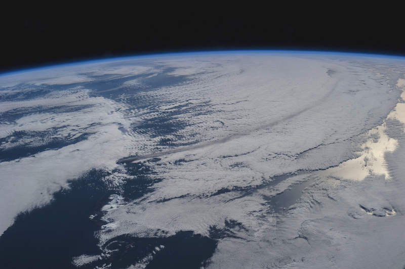 3. The Long Plume From the Volcanic Eruption of Mount Pavlof Casts A Shadow On the Clouds, May 18, 2013 at 17:38:29 GMT, State of Alaska, USA, As Seen From the International Space Station (Expedition 36) While Orbiting Over the North Pacific Ocean. Photo Credit: NASA; ISS036-E-2780, Earth's atmospheric limb, International Space Station (Expedition 36); Image Science and Analysis Laboratory, NASA-Johnson Space Center. 'The Gateway to Astronaut Photography of Earth.' <http://eol.jsc.nasa.gov/scripts/sseop/photo.pl?mission=ISS036&roll=E&frame=2780>; National Aeronautics and Space Administration (NASA, http://www.nasa.gov), Government of the United States of America (USA).
