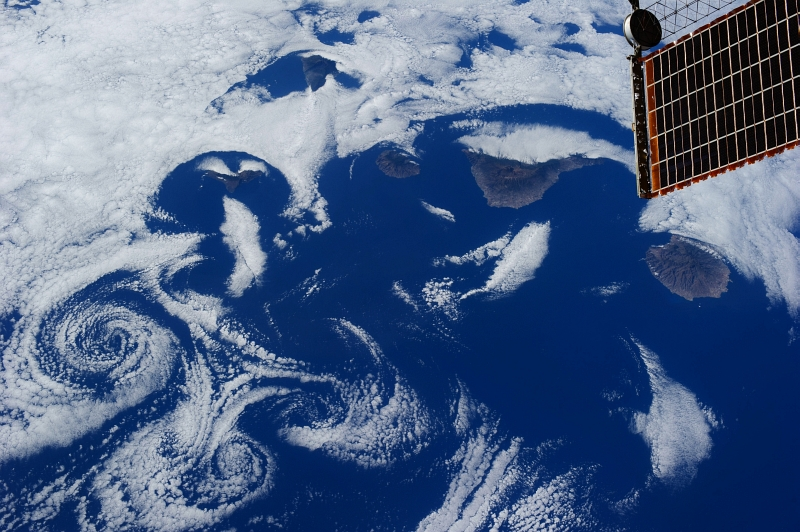 6. Clouds and Vortices Over the Atlantic Ocean As Seen From the International Space Station (Expedition 36) on July 6, 2013 at 17:30:38 GMT, Latitude (LAT): 23.5, Longitude (LON): -16.0, Altitude (ALT): 220 Nautical Miles, Sun Azimuth (AZI): 283 degrees, Sun Elevation Angle (ELEV): 30 degrees. Photo Credit: NASA; ISS036-E-16273, International Space Station (Expedition 36); Image Science and Analysis Laboratory, NASA-Johnson Space Center. 'The Gateway to Astronaut Photography of Earth.' <http://eol.jsc.nasa.gov/scripts/sseop/photo.pl?mission=ISS036&roll=E&frame=16273>; National Aeronautics and Space Administration (NASA, http://www.nasa.gov), Government of the United States of America (USA).