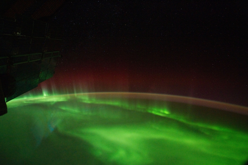 2. A River of Light: Stars, Airglow, Red and Green Aurora Australis Over the Indian Ocean, September 18, 2011 at 13:28:30 GMT, As Seen From the International Space Station (Expedition 29), Latitude (LAT): -50.7, Longitude (LON): 137.7, Altitude (ALT): 209 Nautical Miles, Sun Azimuth (AZI): 204 degrees, Sun Elevation Angle (ELEV): -39 degrees. Photo Credit: NASA; ISS029-E-7500, International Space Station (Expedition 29); Image Science and Analysis Laboratory, NASA-Johnson Space Center. 'The Gateway to Astronaut Photography of Earth.' <http://eol.jsc.nasa.gov/scripts/sseop/photo.pl?mission=ISS029&roll=E&frame=7500>; National Aeronautics and Space Administration (NASA, http://www.nasa.gov), Government of the United States of America (USA).