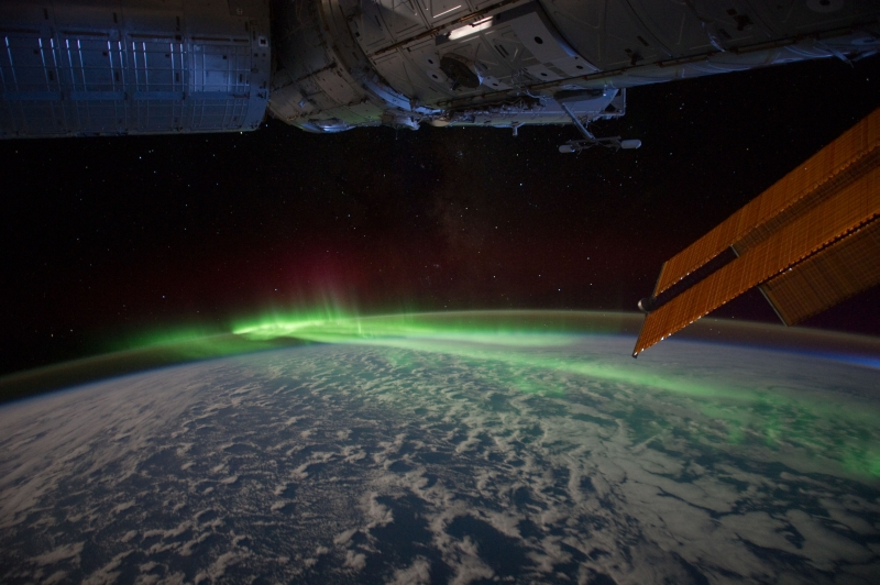 1. Stars, Earth's Airglow, Green and Red Aurora Australis, and Clouds Over the Indian Ocean, March 10, 2012 at 13:20:33 GMT, As Seen From the International Space Station (Expedition 30), Latitude (LAT): -45.3, Longitude (LON): 120.6, Altitude (ALT): 215 Nautical Miles, Sun Azimuth (AZI): 229 degrees, Sun Elevation Angle (ELEV): -29 degrees. Photo Credit: NASA; ISS030-E-130215, International Space Station (Expedition 30); Image Science and Analysis Laboratory, NASA-Johnson Space Center. 'The Gateway to Astronaut Photography of Earth.' <http://eol.jsc.nasa.gov/scripts/sseop/photo.pl?mission=ISS030&roll=E&frame=130215>; National Aeronautics and Space Administration (NASA, http://www.nasa.gov), Government of the United States of America (USA).