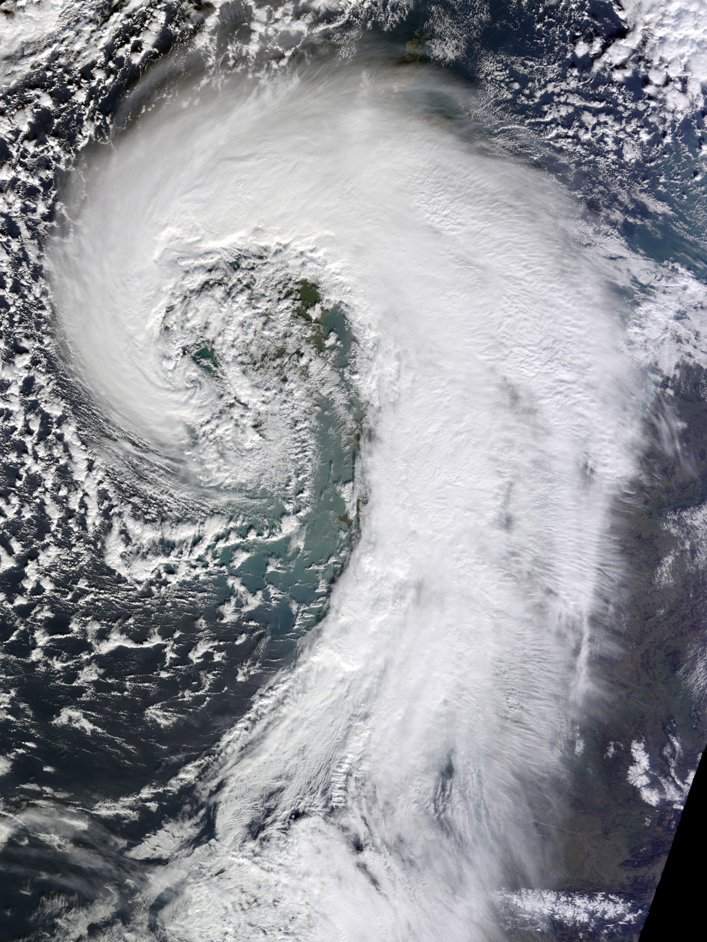 1. Extratropical Cyclone Over United Kingdom of Great Britain and Northern Ireland, February 12, 2014, As Seen By the MODIS Instrument Aboard NASA's Terra Satellite. Photo Credit: National Aeronautics and Space Administration (NASA, http://www.nasa.gov), Government of the United States of America.