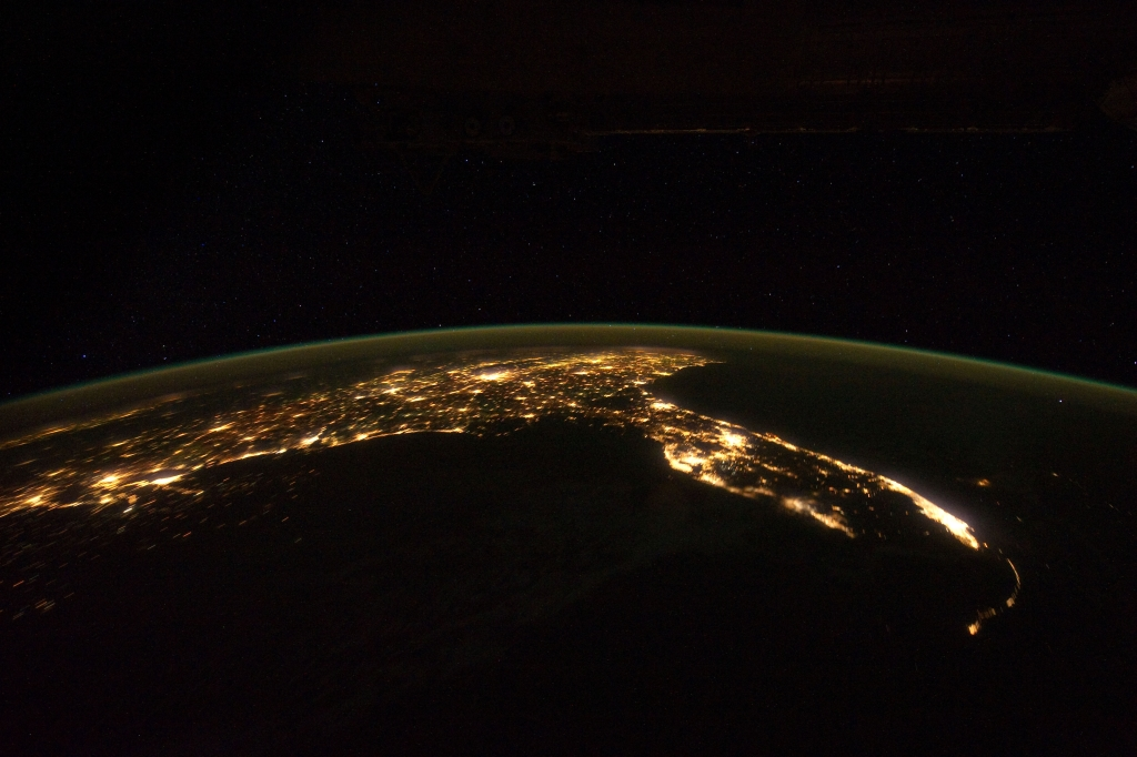 "1. Space, Stars, Earth, and City Lights, State of Florida, United States of America, at Night, As Seen From the International Space Station (Expedition 30) on November 24, 2011 at 07:47:16 GMT, Latitude (LAT): 21.3, Longitude (LON): -87.0, Altitude (ALT): 204 Nautical Miles, Sun Azimuth (AZI): 95 degrees, Sun Elevation Angle (ELEV): -59 degrees. Photo Credit: NASA; ISS030-E-6077, International Space Station (Expedition 30); Earth Science and Remote Sensing Unit, NASA-Johnson Space Center. ""The Gateway to Astronaut Photography of Earth."" <http://eol.jsc.nasa.gov/scripts/sseop/photo.pl?mission=ISS030&roll=E&frame=6077>; National Aeronautics and Space Administration (NASA, http://www.nasa.gov), Government of the United States of America (USA)."