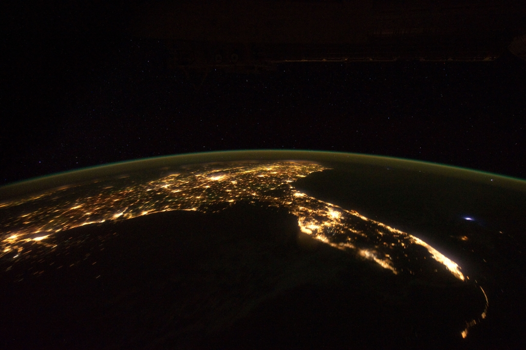 "2. Space, Stars, Earth, Lightning, and City Lights, State of Florida, United States of America, at Night, As Seen From the International Space Station (Expedition 30) on November 24, 2011 at 07:47:31 GMT, Latitude (LAT): 22.0, Longitude (LON): -86.3, Altitude (ALT): 204 Nautical Miles, Sun Azimuth (AZI): 94 degrees, Sun Elevation Angle (ELEV): -58 degrees. Photo Credit: NASA; ISS030-E-6082, International Space Station (Expedition 30); Earth Science and Remote Sensing Unit, NASA-Johnson Space Center. ""The Gateway to Astronaut Photography of Earth."" <http://eol.jsc.nasa.gov/scripts/sseop/photo.pl?mission=ISS030&roll=E&frame=6082>; National Aeronautics and Space Administration (NASA, http://www.nasa.gov), Government of the United States of America (USA)."