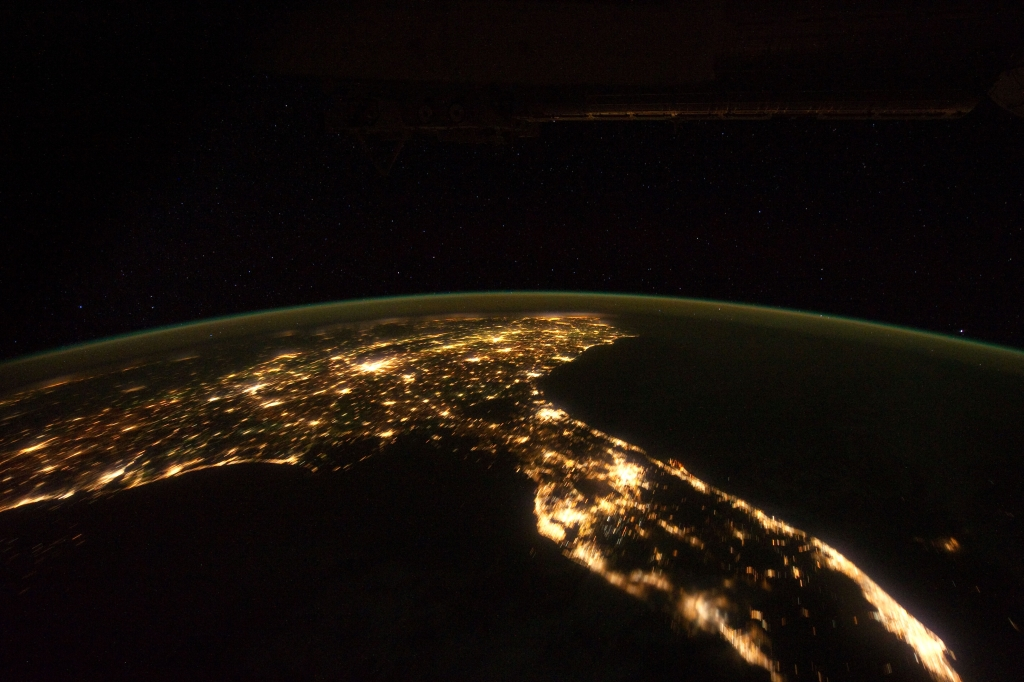 "3. Space, Stars, Earth, and City Lights, State of Florida, United States of America, at Night, As Seen From the International Space Station (Expedition 30) on November 24, 2011 at 07:47:58 GMT, Latitude (LAT): 23.3, Longitude (LON): -85.2, Altitude (ALT): 204 Nautical Miles, Sun Azimuth (AZI): 92 degrees, Sun Elevation Angle (ELEV): -57 degrees. Photo Credit: NASA; ISS030-E-6091, International Space Station (Expedition 30); Earth Science and Remote Sensing Unit, NASA-Johnson Space Center. ""The Gateway to Astronaut Photography of Earth."" <http://eol.jsc.nasa.gov/scripts/sseop/photo.pl?mission=ISS030&roll=E&frame=6091>; National Aeronautics and Space Administration (NASA, http://www.nasa.gov), Government of the United States of America (USA)."