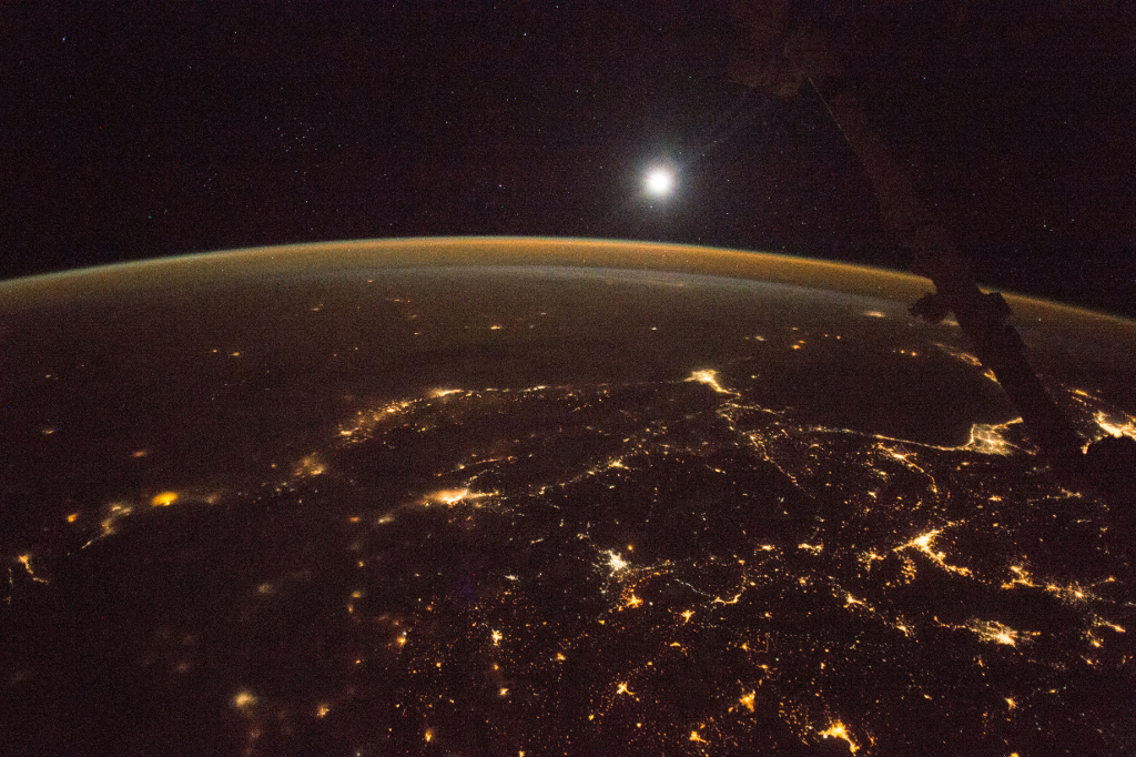 Photoset 1, Photograph 13. November 12, 2017 at 21:39:06 GMT, ISS053-E-218120, As Seen From the International Space Station (Expedition 53), Latitude: 38.7, Longitude: 39.1, Altitude: 215 Nautical Miles, Sun Azimuth: 20 degrees, Sun Elevation Angle: -68 degrees. Photo Credit: NASA; ISS053-E-218120, International Space Station (Expedition 53); Image courtesy of the Earth Science and Remote Sensing Unit, NASA Johnson Space Center, https://eol.jsc.nasa.gov. National Aeronautics and Space Administration (NASA, http://www.nasa.gov), Government of the United States of America (USA).