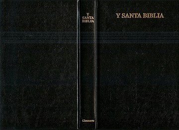 "Front cover, back cover, and spine of Y Santa Biblia, Chamorro (October 2005 Steffy printing). The covers and spine are black. Printed in gold on the front cover are the words, Y SANTA BIBLIA. The words printed in gold at the top of the spine are, Y SANTA BIBLIA. Printed in gold at the bottom of the spine is the word, Chamorro.  The photo is from the Robert Joseph and Rlene Santos Steffy press release of November 11, 2005 announcing the print version of ""Y Santa Biblia, Palabran Jesucristo Sija Gui Tinige Agaga, Chamorro"". Image credit: Rlene Santos Steffy."