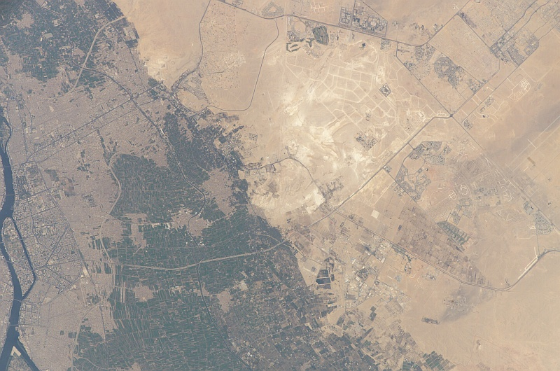 9. Cairo, The Nile River, The Great Pyramids and El Giza, May 27, 2005, Jumhuriyat Misr al-Arabiyah - Arab Republic of Egypt, As Seen From the International Space Station (Expedition 11). Photo Credit: NASA; ISS011-E-7288, Nile river, Cairo, The Great Pryamids, El Giza, International Space Station (Expedition Eleven); Image Science and Analysis Laboratory, NASA-Johnson Space Center. 'Astronaut Photography of Earth - Display Record.' <http://eol.jsc.nasa.gov/scripts/sseop/photo.pl?mission=ISS011&roll=E&frame=7288>; National Aeronautics and Space Administration (NASA, http://www.nasa.gov), Government of the United States of America (USA).