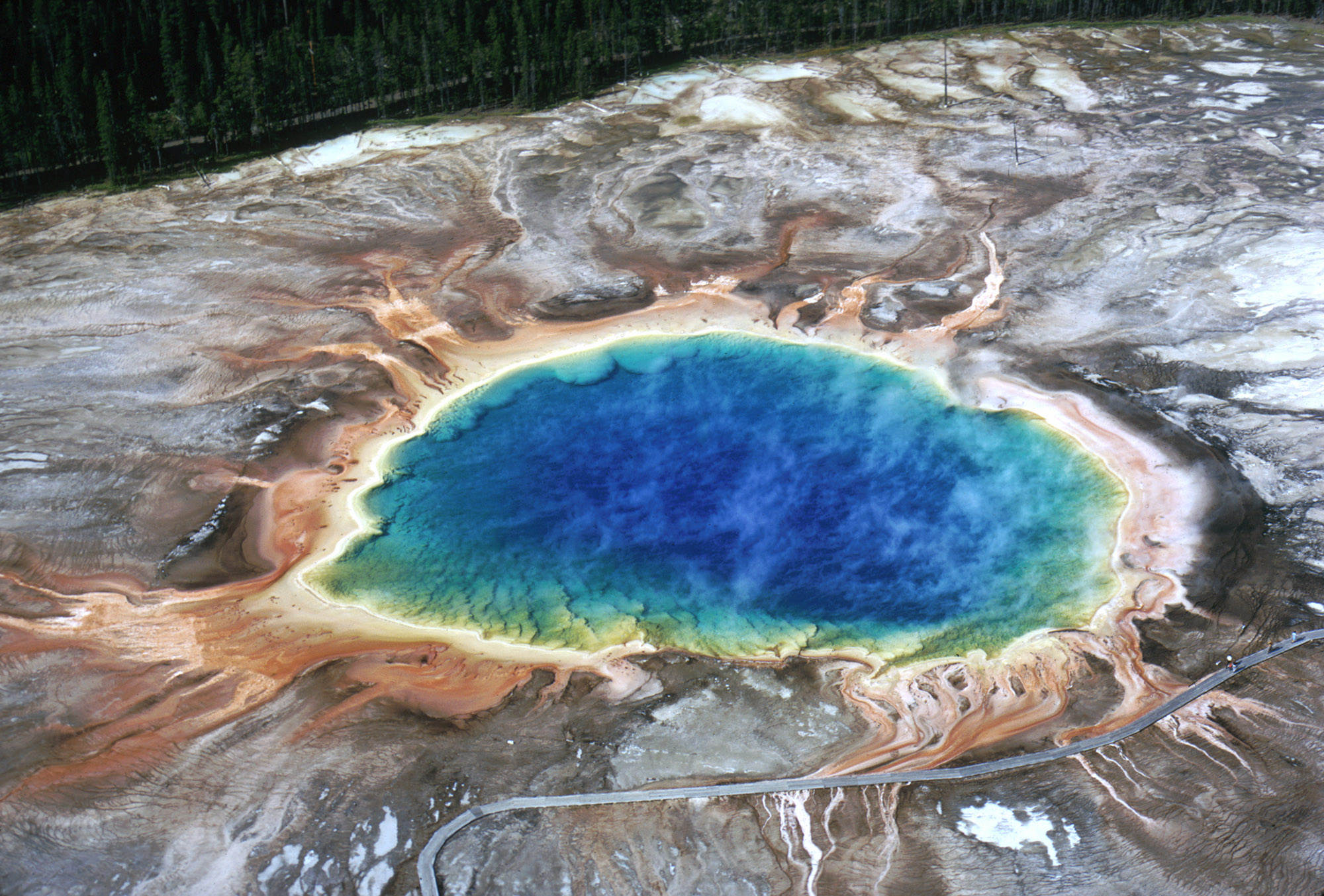 Grand Prismatic Spring in 1973 . . . Yellowstone National Park, Wyoming, USA . . . Photographed by A. Mebane, National Park Service