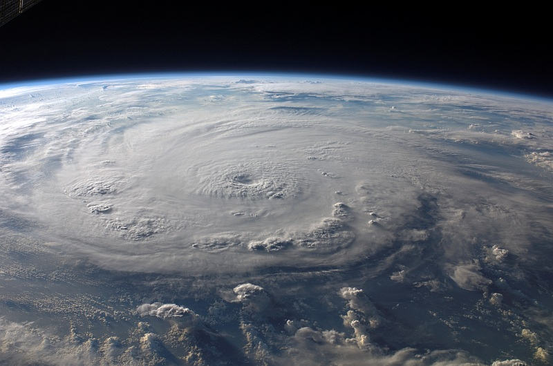 8. Hurricane Felix Over the Caribbean Sea, September 3, 2007 at 11:38:46.000 GMT As Seen From the International Space Station (Expedition 15). Photo Credit: NASA; ISS015-E-25049, Hurricane Felix, Eye, Bands of wind, Rainbands (Bands of rain), Caribbean Sea, International Space Station (Expedition Fifteen); Image Science and Analysis Laboratory, NASA-Johnson Space Center. 'Astronaut Photography of Earth - Display Record.' <http://eol.jsc.nasa.gov/scripts/sseop/photo.pl?mission=ISS015&roll=E&frame=25049>; National Aeronautics and Space Administration (NASA, http://www.nasa.gov), Government of the United States of America (USA).