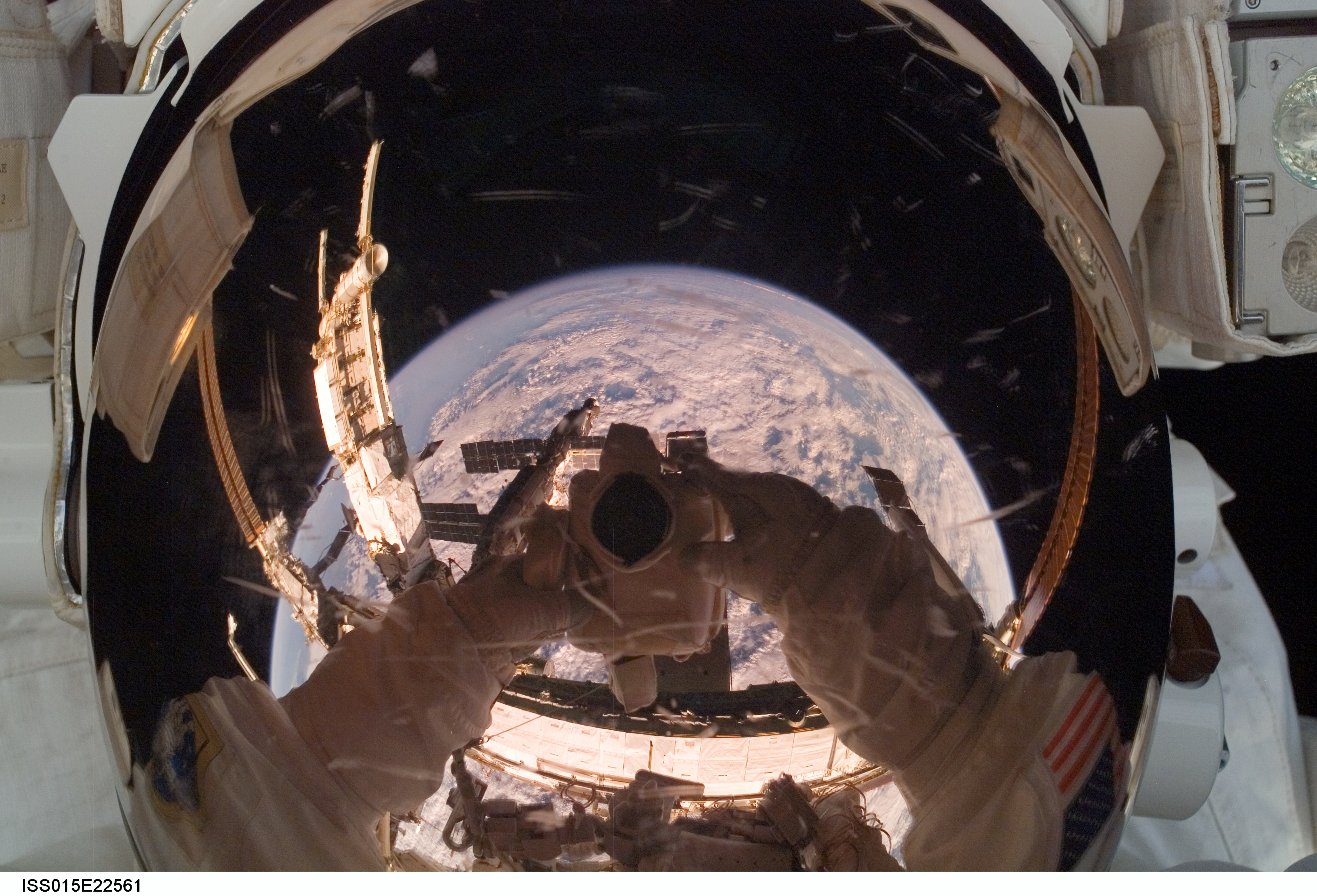 gpw 20061021 original NASA ISS015 E 22561 space ISS Expedition 15 Flight Engineer helmet visor reflections clouds Earth 20070815 Join Date: May 2010; Posts: 6540; Thanks: 0: Thanked 4 Times in 4 Posts