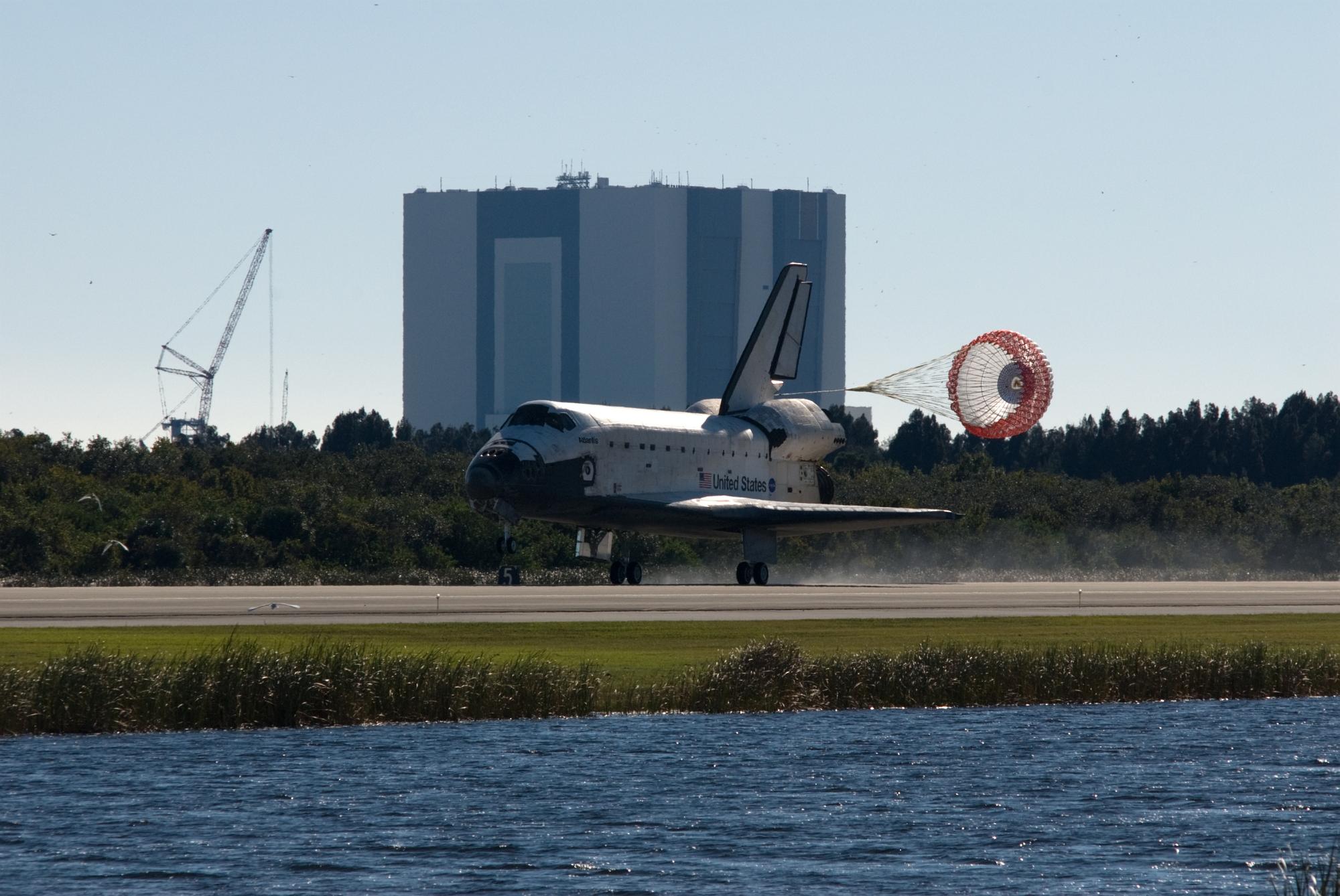 during a space shuttle landing a parachute deploys - photo #35